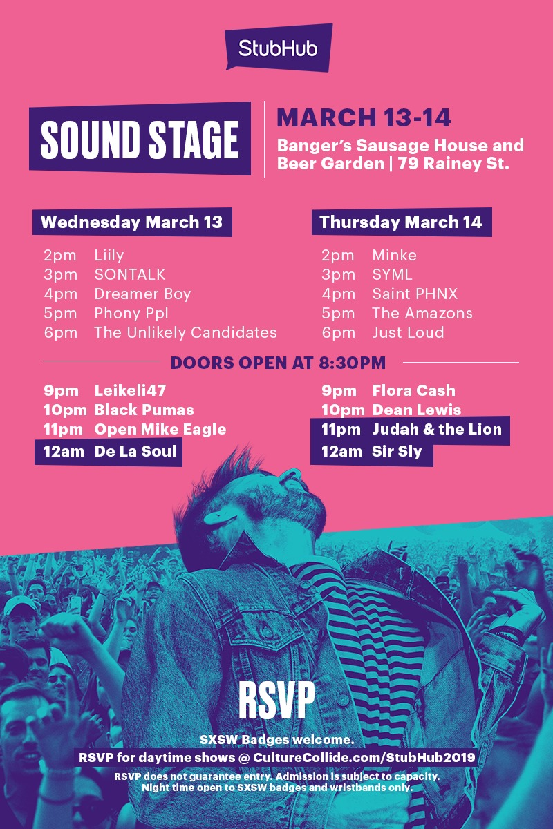 StubHub Sound Stage Lineup at SXSW 2019 - Culture Collide